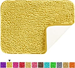 Hughapy Chenille Bathroom Rug Non Slip Bath Mat Extra Soft and Absorbent Shaggy Rugs Plush Carpet Mats for Bathroom Living Room (Yellow, 23.6x15.7 inch)