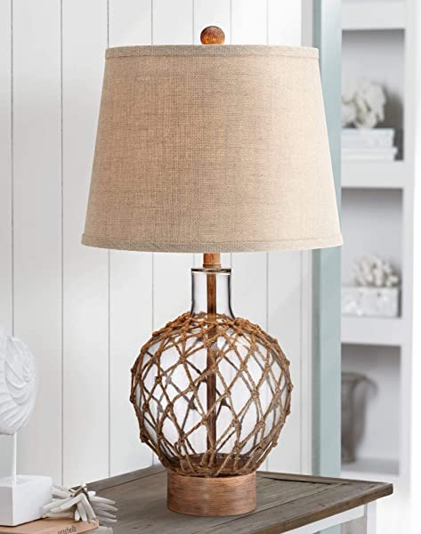 Nautical Table Lamp Clear Glass Rope Net Burlap Drum Shade For Living Room Family Bedroom Bedside Nightstand 360 Lighting