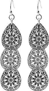 "2"" Inch Vintage Filigree Worn Silver Tone Teardrop Antique Sacred Geometry Flower Leaf Metal Dangle Alloy Earrings"