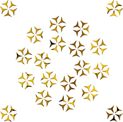 Look Decor SAG 100 Star Golden 3D Mirror Acrylic Wall Sticker Decoration for Kids Room/Living Room/Bedroom/Office/Home Latest Wall Art Number 1217