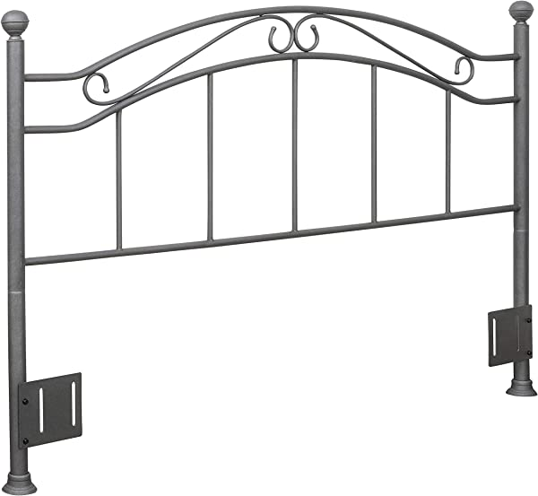 Ravenna Home Classic Curved Metal Headboard Queen 64 Inch Pewter