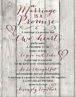 Marriage Promise Prayer Wood Plaque with Inspiring Quotes 11.75