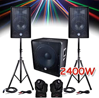 Pack sono 2400W - 2 Enceintes 30cm + Sub 46cm + Câbles + 2 Lyres RVB Gobo/Strobo/DMX