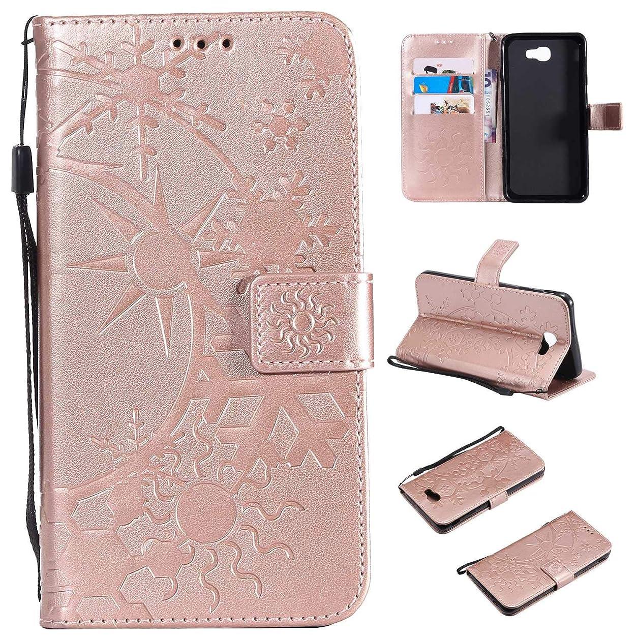 空港隣接参加するGalaxy J7 Prime ケース CUSKING 手帳型 ケース ストラップ付き かわいい 財布 カバー カードポケット付き Samsung ギャラクシー J7 Prime マジックアレイ ケース - ローズゴールド