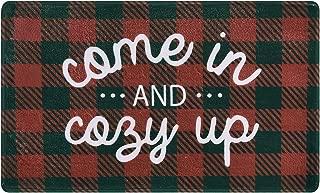 Area Rugs Christmas Doormat Red Plaid Floor Mat Come in Floor Mat 18 × 30 Inches Anti Slip Mats for Indoor Entryway Living Room Bedroom Kitchen Red