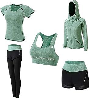 Ropa Deportiva Mujer,5 Piezas Conjuntos Deportivos para Mujer Yoga Fitness Deporte Chándales Ropa de Correr Conjunto de Gi...