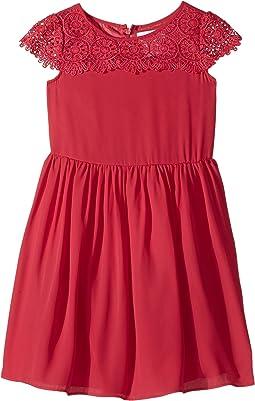 Scalloped Cap Sleeve with Full Skirt Dress (Toddler/Little Kids)