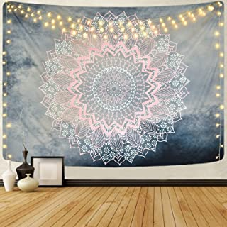 Mandala Tapestry Grey Pink Floral Tapestries Hippie Bohemian Flower Tapestry Wall Hanging for BedroomLivingRoomDorm (5...