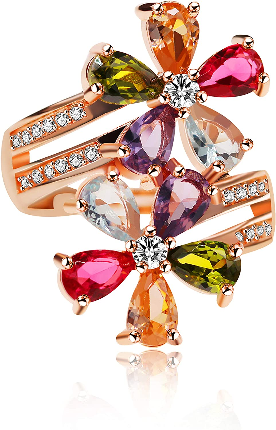 Uloveido Women's Multicolor Pear Cut Created Rings Ro Topics on TV National products Tourmaline