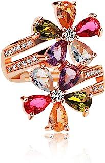 Uloveido Women's Multicolor Pear Cut Created Tourmaline Rings Rose Gold Plated Flower Octoberstone خواتم قابلة للتعديل هدا...
