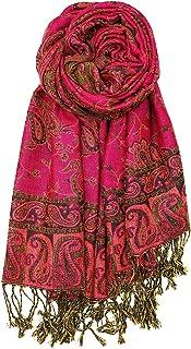 Achillea Soft Silky Reversible Paisley Pashmina Shawl Wrap Scarf w/Fringes