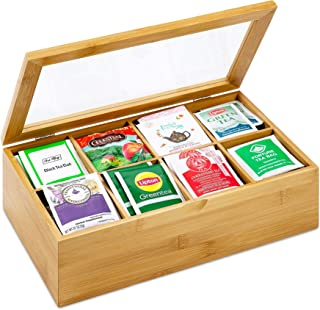 Bamboo Tea Box Organizer – Natural Wood Tea Bags Holder with 8 Storage Compartment - Wooden Box with Lid.