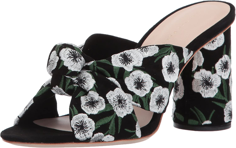 Loeffler Randall Womens Coco High Heel Knot Slide (Suede Embroidery) Heeled Sandal