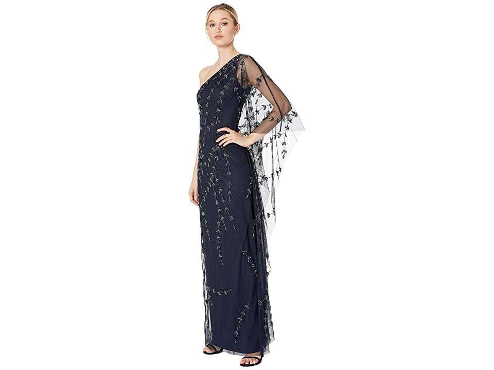Adrianna Papell One Shoulder Beaded Kaftan Evening Gown (Midnight) Women's Dress, Navy