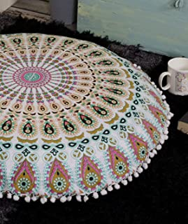 Popular Handicrafts Large Ombre Mandala Round Hippie Floor Pillow Cover - Cushion Cover - Pouf Cover Bohemian Yoga Decor Floor Cushion Case - 32