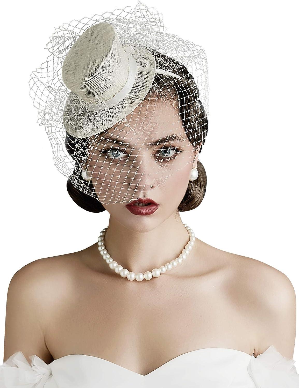 BABEYOND Women's Top Hat Fascinators Headband Tea Party Fascinator Hat Veil Kentucky Derby Hat for Cocktail