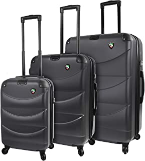 Mia Toro Italy Cadeo Hardside Spinner Luggage 3pc Set, Black, One Size