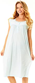 Womens Nightgown Sleepwear Cotton Pajamas - Womans Cap Sleeve Sleep Dress Nightshirt