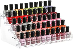 Cq acrylic Clear Nail Polish Organizers And Storage,5 Layer Nail Polish Rack Tabletop Display Stand Holds Up to 45 Bottles, Acrylic 5 Tier Essential Oils Holder For Professional Nail Salon