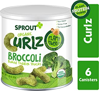 Sprout Organic Curlz Toddler Snacks, Broccoli, 1.48 Ounce (6 Count) Canister