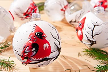 Hand Painted Glass Cardinal Ornament - 2021 Collection European Hand Blown Glass Christmas Ornaments Balls - Unique Glass Orn