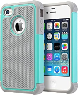 UARMOR Case for Apple iPhone 4 / iPhone 4S, Hybrid Dual Layer Protective Case with Hard Plastic and Soft Silicone Shockproof Durable Fullbody Protection Case, Mint Green + Gray