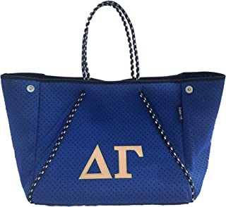 Delta Gamma Dee Gee DG Sorority Fraternity Neoprene Tote Bags Purses Totes Fall School Overnight Gym Studio Office Travel ...