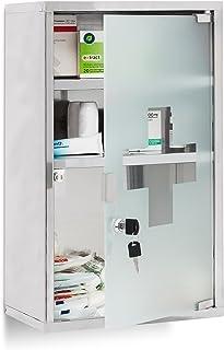 Relaxdays 10019093 Armoire à pharmacie étagère rangement médicaments 3 étages HxlxP : 50,5 x 30 x 18 cm porte en verre clé...