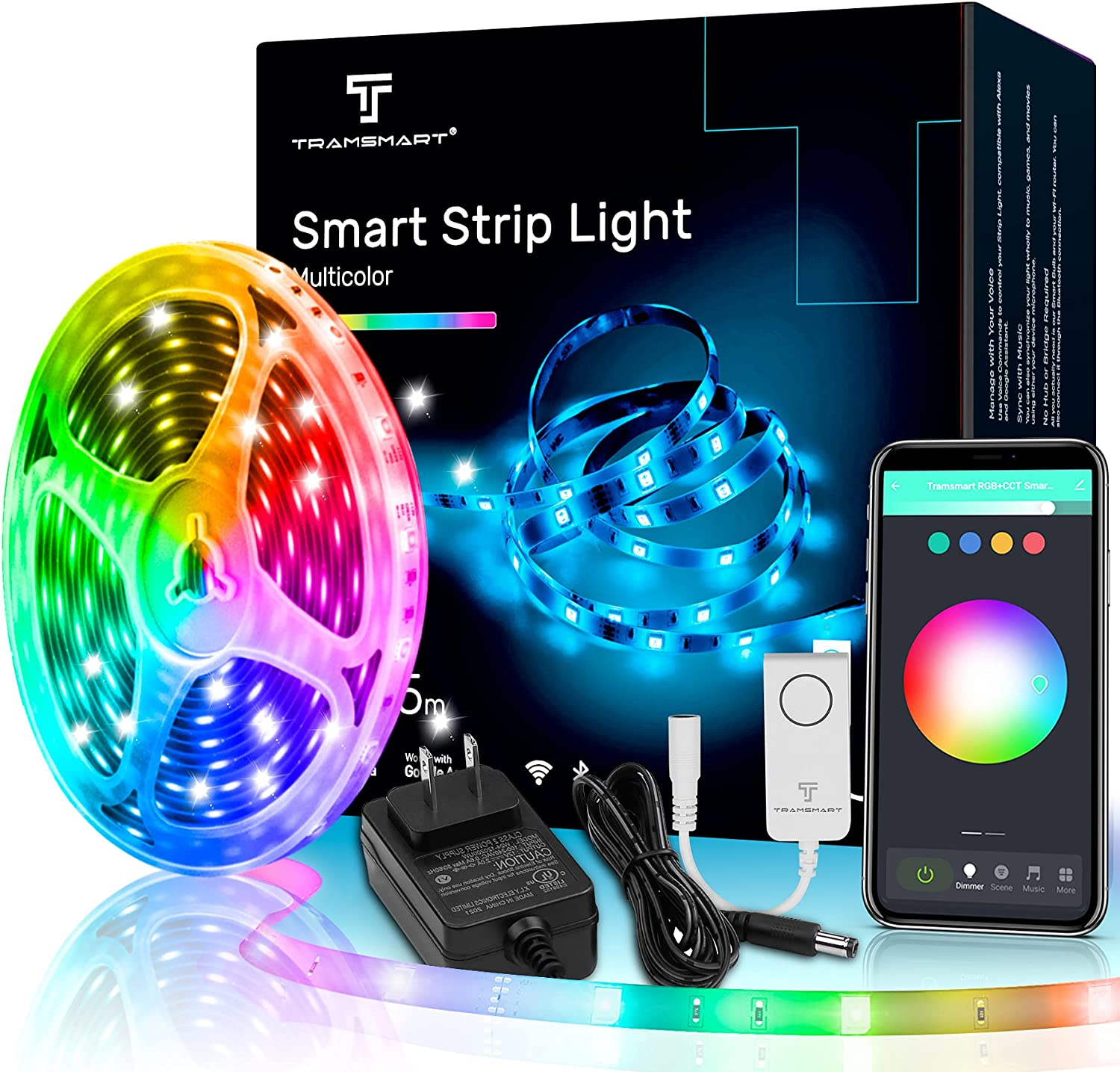 Smart LED Strip Lights,16.4ft Voice Control Works with Alexa and Google Home (No Hub Required),Music Sync,RGB Colors Changing with App Remote Control WiFi Light Strip,Decoration Bedroom,Kitchen,Bar