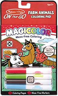 Melissa & Doug On The Go Magic Color Coloring Pad: Farm Animals - 18 Pages, 4 Markers