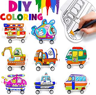 PartyWoo DIY Car Party Favors, 8 pcs Coloring Cars Party Favors, Party Favors for Kids Party Favors for Boys Small Party Favors Boy Bday Party Favors, Includes 8 Hand Painted Car Themed Party Favors