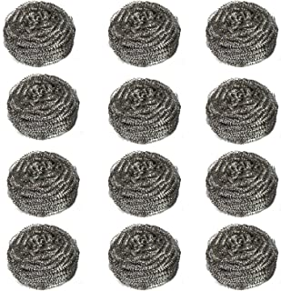 Miao Jie Metal Scourers Stainless Steel Sponges Stainless Steel Scrubber, Scrubbing Scouring Pad, Steel Wool Scrubber, Metal Scouring Pads, Stainless Steel Scourer Pot Brush for Kitchens (12 Pack)