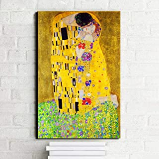 Gustav Klimt Kiss Poster Print on Canvas Wall Art Pintura famosa en la pintura de la pared para la decoración del hogar de...