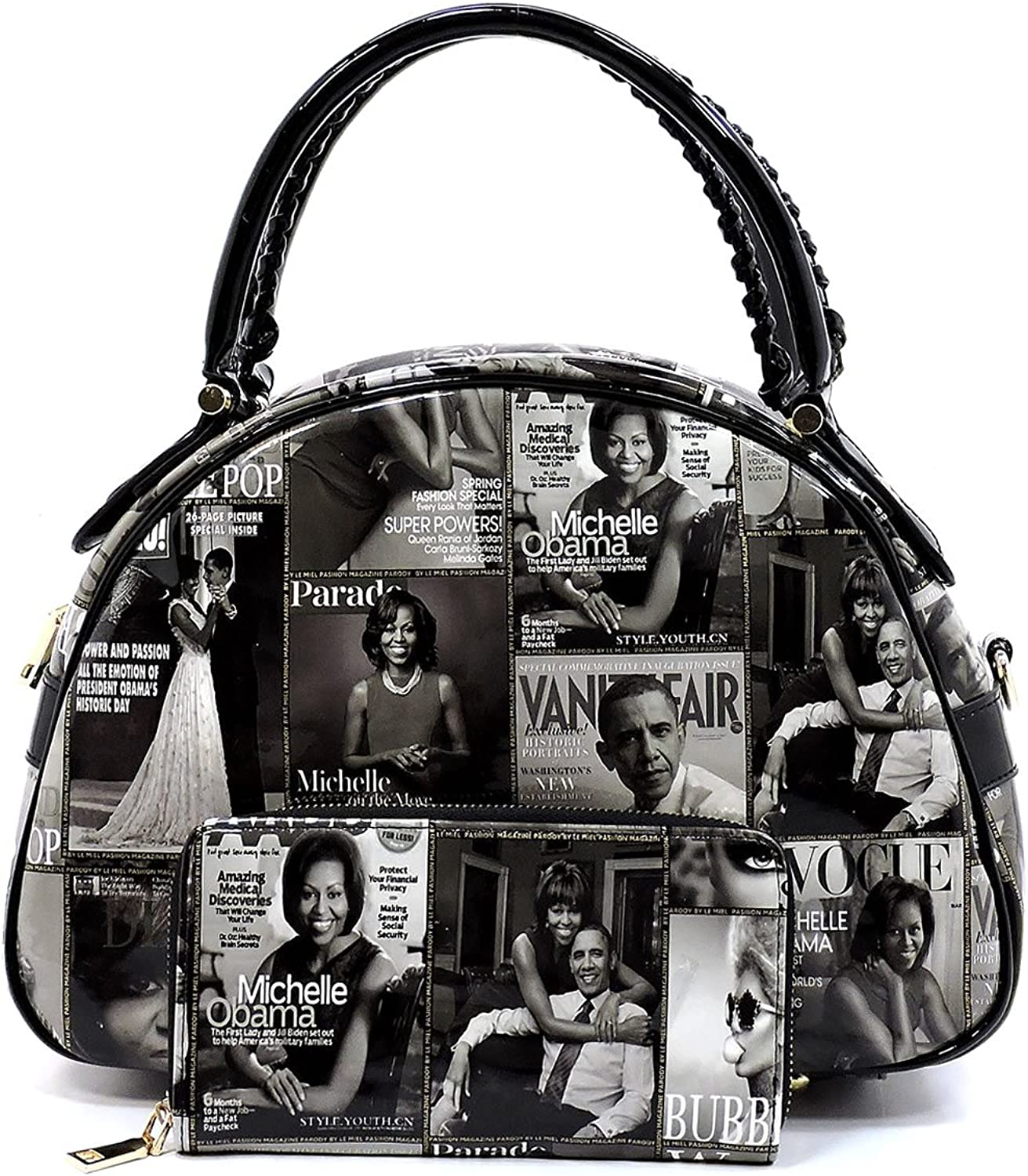 Glossy Magazine Cover Collage 2in1 Dome Satchel & Wallet Set Michelle Obama Handbag
