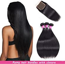 Malaysian Hair 3 Bundles With Closure Straight Remy Hair With Closure Human Hair Extensions Natural Black Double weft by Lovenea(14-16-18&12Closure) …