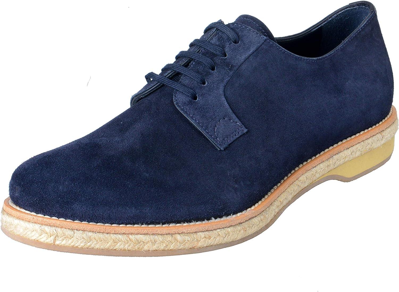Prada Men's Blue Suede Lace Up Oxfords Shoes Sz US