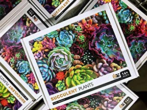 VARWANEO Succulents Plants Puzzle 1000 Pieces for Adults Educational Fun Game Intellectual Jigsaw Puzzle for Kids Decompressing Interesting Puzzle Home Decor Gifts