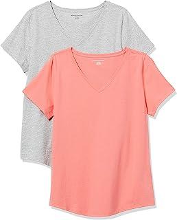 Amazon Essentials Paquete de 2 Camisetas 100% algodón de Ajuste Holgado con Cuello de Pico de Manga Corta Camiseta para Mujer