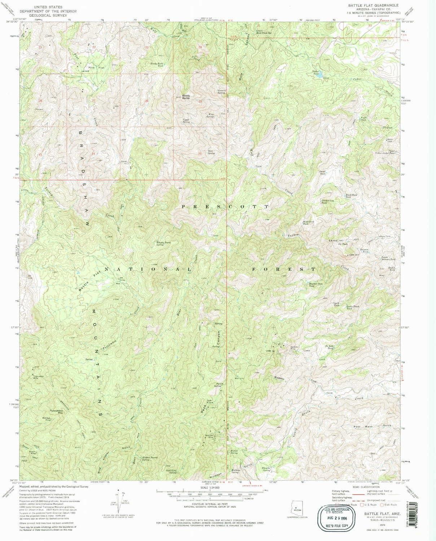 YellowMaps Battle Flat AZ mart Bombing free shipping topo map Min 1:24000 Scale 7.5 X