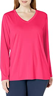 Just My Size Women's Plus Size Active Long Sleeve Cool Dri V-Neck Tee Pop Art Pink 2X