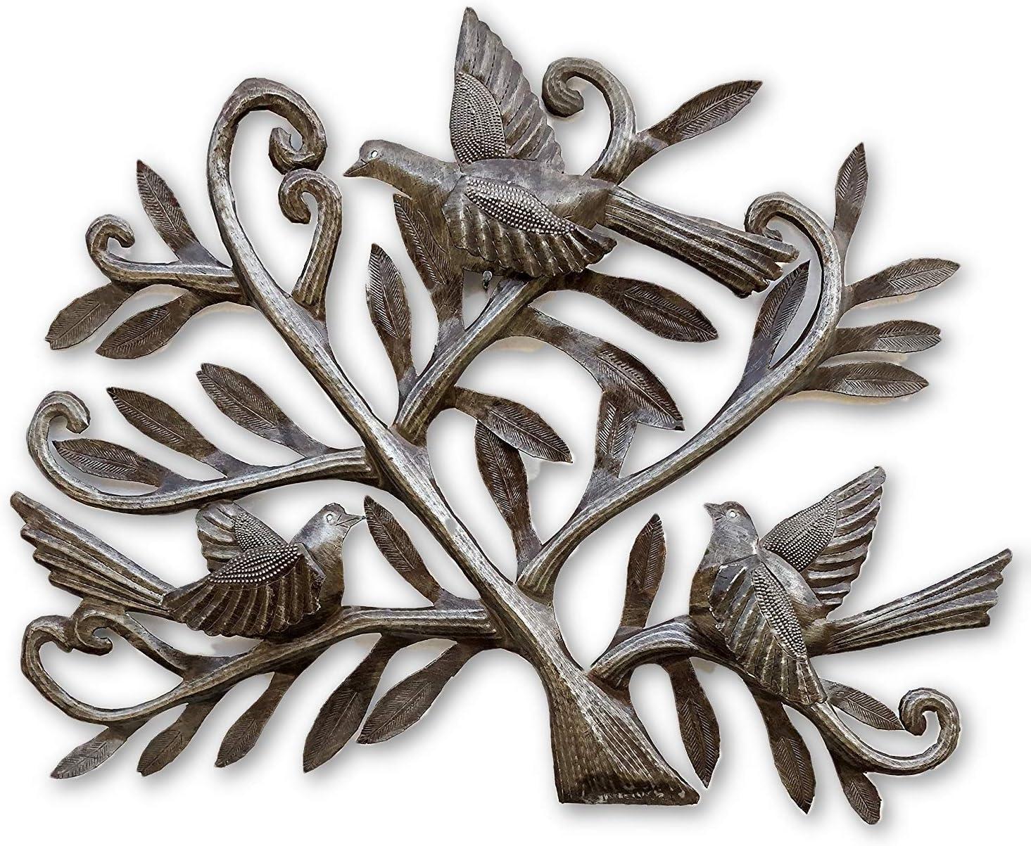 Metal Birds Wall Decor Haitian Recycle of Tree life Columbus Mall Art Regular store