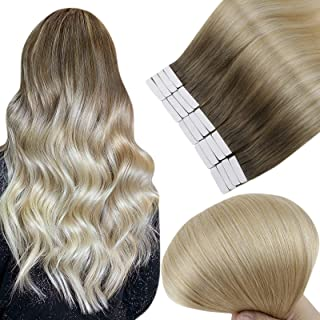 Full Shine Human Hair Tape Extensions 20 Inch Adhensive Tape Hair Extensions Remy Human Hair 6 Fading To 27 Highlight 60 P...