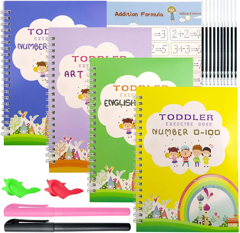 4 gift Pcs English Magic Practice Superior Copybook for Kids Book Tracing Reu