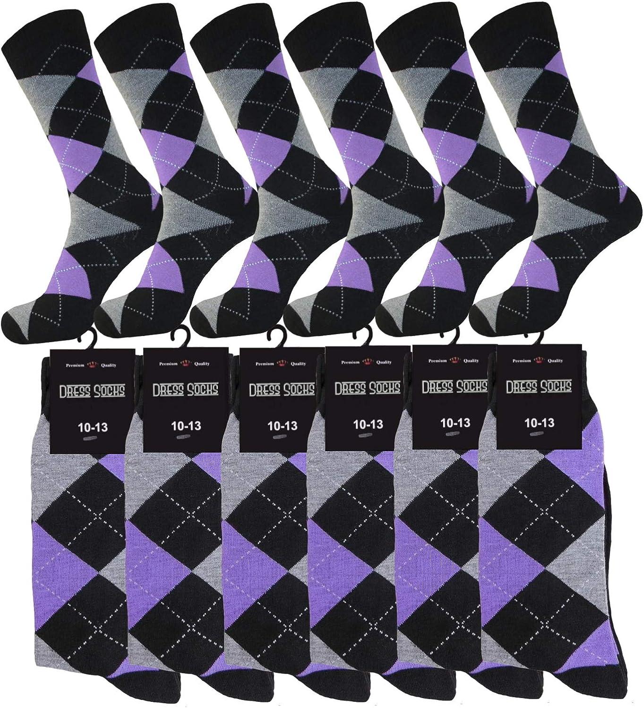 MENS ARGYLE PURPLE DRESS SOCKS WEDDING GROOMSMEN MATCHING SOCKS SET COTTON BLEND 12 PAIR ROYAL CLASSIC 10-13
