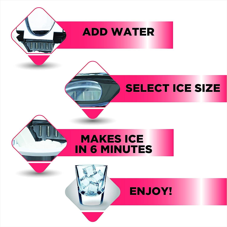 Frigidaire EFIC117-SSBLACK-COM EFIC117-SSBLACK 26 Lbs Portable Compact Maker, Black Stainless Steel Ice Making Machine