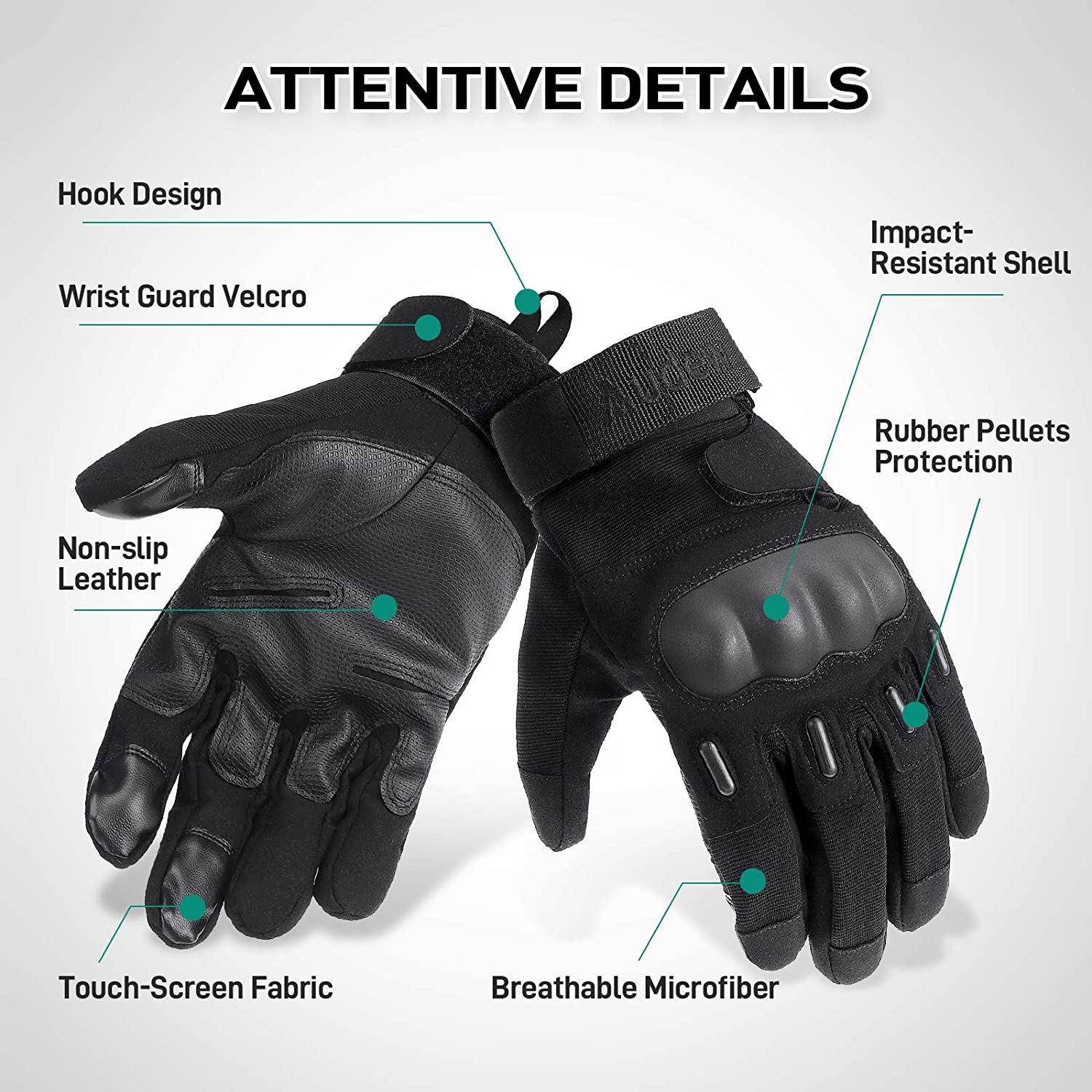 Hiking Cycling Full Finger Hard Knuckle Motorcycle Gloves with Non-Slip Palm Touch Screen Design for Racing Riding Audew Motorcycle Gloves for Men and Women Climbing X-Large