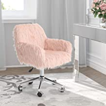 MAISON ARTS Pink Accent Chair, Faux Fur Vanity Chair Adjustable Swivel Desk Chair with Chrome Base, Fluffy Home Office Cha...