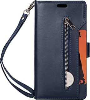 Folice Galaxy A5 2017 Zipper Wallet Case, [Magnetic Closure]& 9 Card Slots, PU Leather Kickstand Wallet Cover Durable Flip Case Compatible with Samsung Galaxy A5 2017 (Blue)