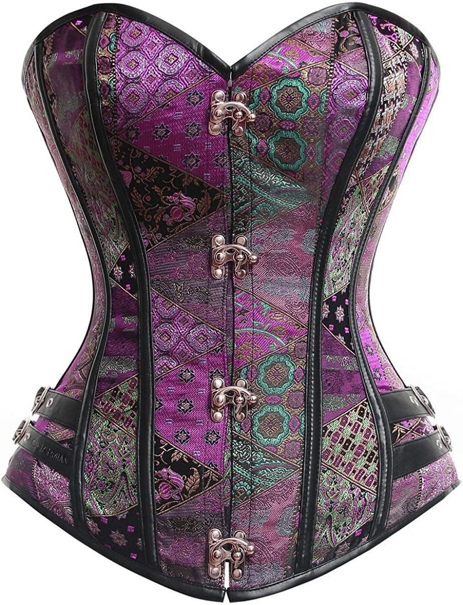 Charmian security Women's Steampunk Gothic Brocade Steel Bustier Boned Co Over item handling