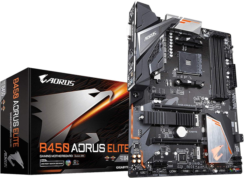 Gigabyte B450 Aorus Elite Carte Mere Amd B450 Schwarz Computer Zubehör